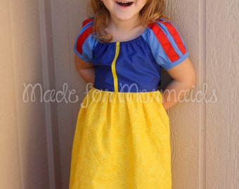 Snow White Dress everyday princess PDF Pattern instant download 6mnth-8years