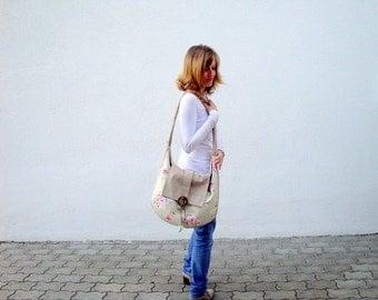 Large Shoulderbag, Hobo Bag,  with Roses, beige, pink, green