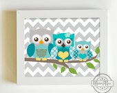 Aqua Gray Boy Nursery Decor, Owl Print for Nursery ,Baby Boy Owl Family Nursery Art, Whimsical Owl Art Print  8  x 10,