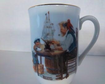 Norman Rockwell Coffee Mug Museum Collectible, For A Good Boy Vintage 1982 Mug, Christmas Gift