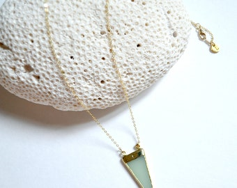 FLASH SALE /// sea glass triangle necklace  /// long layering gold necklace /// tribal inspired modern summer jewelry