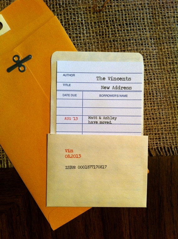 Date Due Library Check Out Card Moving Announcements (set of 20)