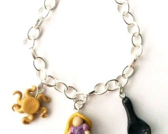 Tangled/Rapunzel Disney Inspired Clay Charm Bracelet or Necklace