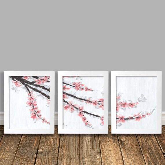 Https Etsy Com Listing 120406919 Pink Cherry Blossoms Original Art Print