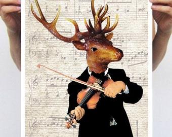 Deer Print,  Antler, Stag, Deer Art, Deer Art Print, Deer Artwork, Wall Decor, Wall Art, Deer Wall Hanging, Violin, Music, Art Print, Gift