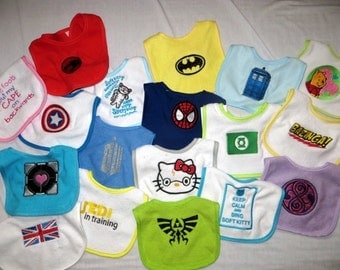 SALE - Mystery 5 Pack of Embroidered Geek Bibs - Amazing Deal