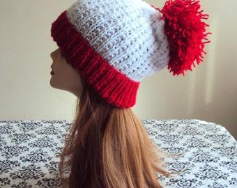 Knit Pom Pom Hat Slouchy Beanie Hand Knit Winter Hat Women Men Winter Fashion Accessories Gift Ideas