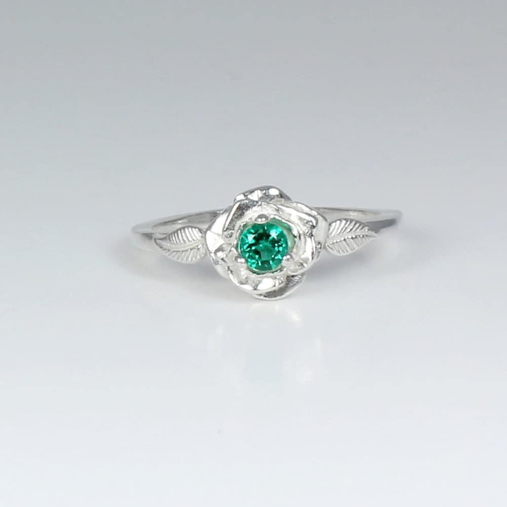 genuine emerald ring sterling silver emerald silver ring