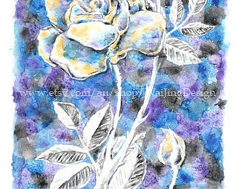 Gilded Rose - floral greeting card