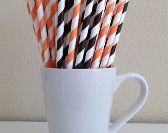 Halloween Paper Straws Orange and Black Striped Halloween Party Supplies Halloween Decor Bar Cart Cake Pop Stick Mason Jar Straw Graduation
