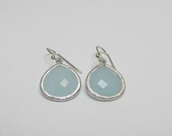 pale blue earring , light blue earring , blue earring , bridesmaid earring , blue dangle , powder blue earring , alice blue earring