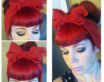 SALE Red Vintage Style Chiffon Hair Scarf Headwrap Hair Bow 1940s 1950s Rockabilly - Pin Up - For Women, Teens Scarves