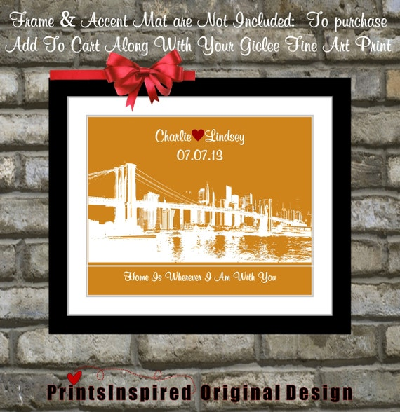 Unique Wedding Gifts Nyc : Custom New York City Wedding Gift: NYC Skyline Wall Art or Any Weding ...