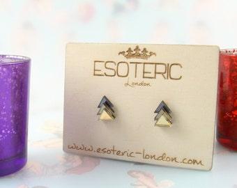 Mirror Perspex Geometric Stud Earrings - Gunmetal Gray/ Grey / Bronze / Gold
