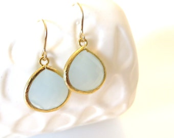 Pastel Blue Earrings Gold Earrings Robins Egg Blue Aqua Mint Earrings Periwinkle Bridesmaid Earrings Something Blue Wedding Jewelry