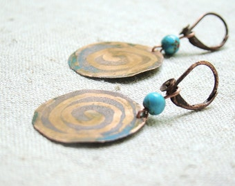 Turquoise earrings, everyday copper earrings brown and blue, boho, round earring