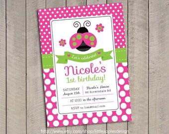 Pink Green Ladybug Invitation / Ladybug Invite / Ladybug Invitation / 1st Birthday Ladybug Invitation / Oh So Sweet Ladybug Invitation