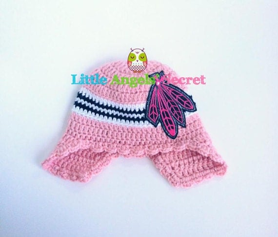 Blackhawks Hat With Feathers Chicago Blackhawks Crochet Hat