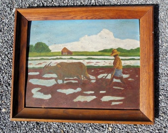 Original Painting Primitive Folk Art Farming Scene
