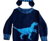 Dinosaur Child's Sweater and Hat - Velociraptor - Knitting Pattern,  Dinosaur Sweater and Hat Knitting Pattern, Dinosaur Knitting Pattern