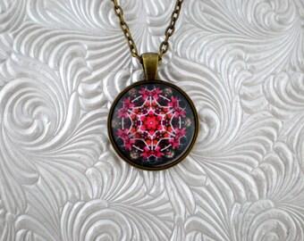 Kaleidoscope Flower Pendant Necklace  pink pendant Necklace