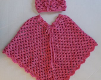 Pink Crochet Poncho & Hat Set