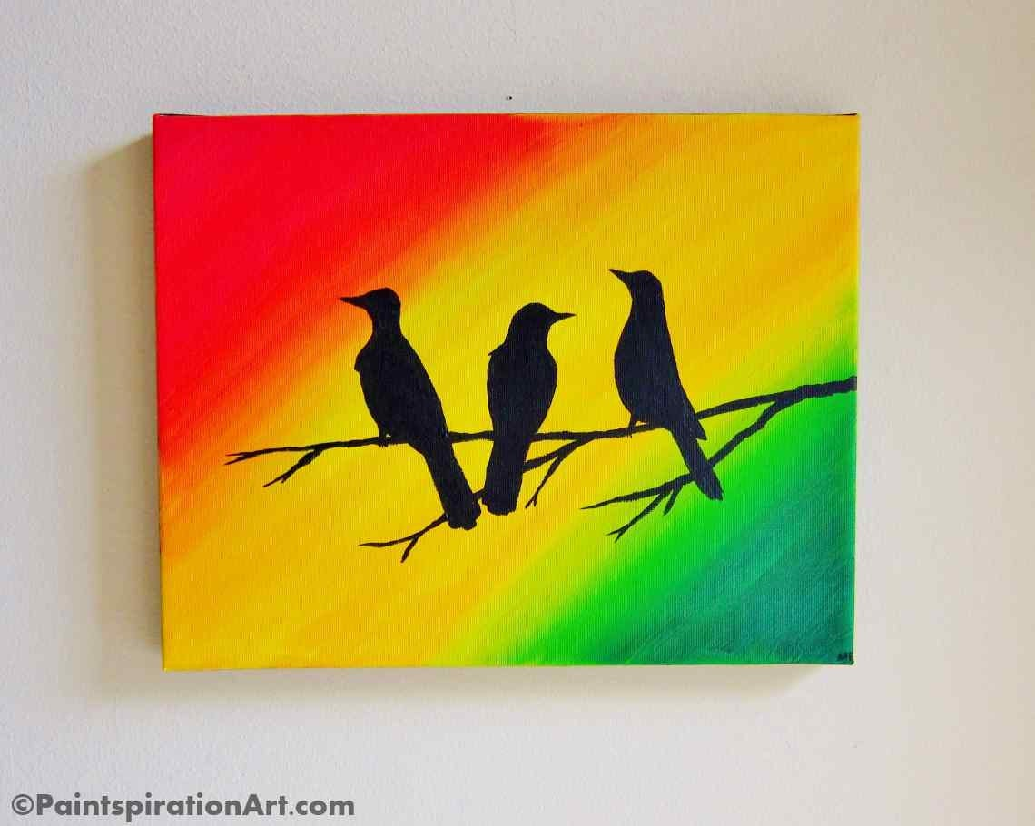 Custom artwork bob marley three little birds wall art original for Wall artwork paintings