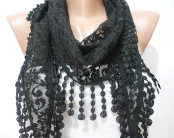 Black Lace Scarf Shawl Cowl Scarf Black Wedding Scarf Bridesmaids Gifts Women Fashion Accessories Bridal Accessories Christmas Gifts For Her