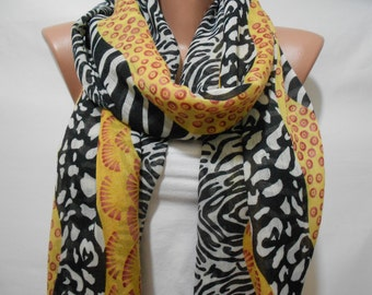 Leopard Scarf Shawl Animal Print Scarf Zebra Scarf Cowl Scarf Black and Yellow Scarf Women Fashion Accessories Gift Ideas For Her SCARFCLUB
