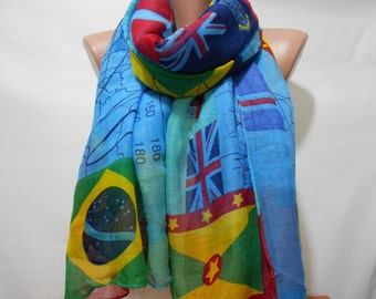 Flag Print Scarf Shawl Oversize Blue Scarf Pareo Scarf Beach Wrap Cowl Scarf Women Fashion Accessories Christmas Gift Ideas For Her For Him