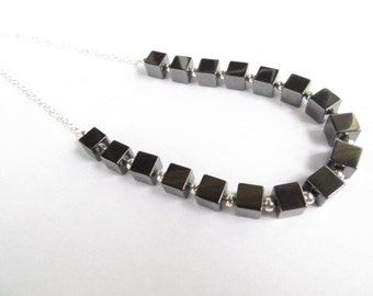 Geometric Necklace Hematite Cube Necklace Cubist Bib Necklace Contemporary Necklace Trending Item Gift For Her