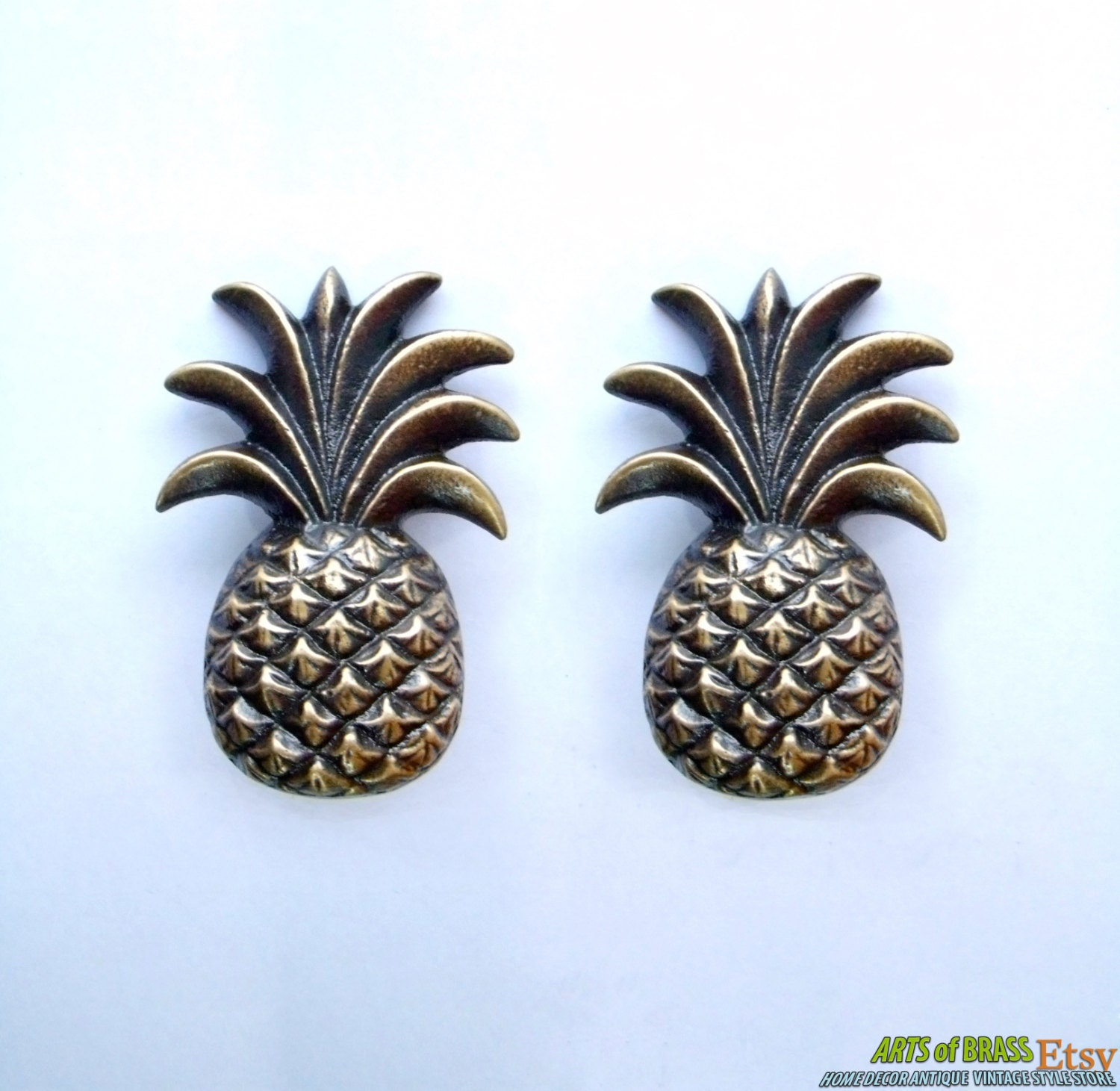 Lot Of 2 Pcs Antique Pineapple Fruits Cabinet Solid Brass