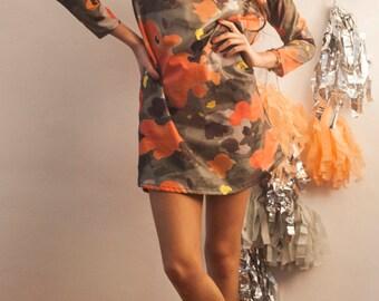 The Koi Camo Print Shift Dress