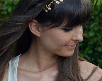 Gold Grecian Headband w 5 Leaves - custom or standard fit - bohemian style boho chic hipster
