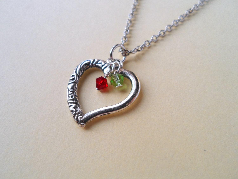 heart necklace birthstone necklace mother 39 s necklace. Black Bedroom Furniture Sets. Home Design Ideas