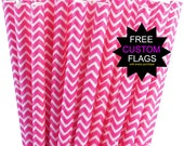 25 hot Pink White Chevron Striped Paper Straws - Party Straw Package with Diy Straw Flags - Wedding Birthday Bridal