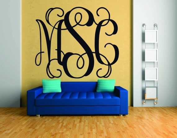 Items similar to monogram wall decal fancy monogram font for Monogram wall decal