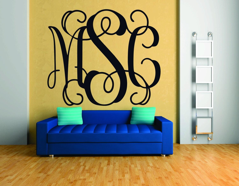 monogram wall decal fancy monogram font vinyl monogram. Black Bedroom Furniture Sets. Home Design Ideas
