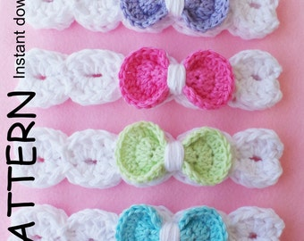 CROCHET HEADBAND Pattern, BABYS headband pattern, Bow headband pattern, Cotton headband pattern, 8 sizes, Pdf pattern By Kerry Jayne Designs