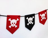 Pirate Party Banner or Garland. Nautical birthday party, baby shower banner. Skull motif. Red White Black. Photo prop.