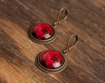 Red rose earrings, red rose dangle earrings, glass dome earrings, antique brass earrings, antique bronze earrings, red flower earrings