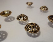 Antique Golden Metal Alloy Bead Caps Findings Jewelry Supplies F1941