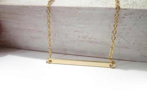 horizontal bar necklace sideway gold bar necklace by. Black Bedroom Furniture Sets. Home Design Ideas
