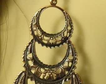 ANTIQUE Earrings Copper Tone  BOHEMIAN Earrings Bronzed chandelier Filigree Dangle Earrings
