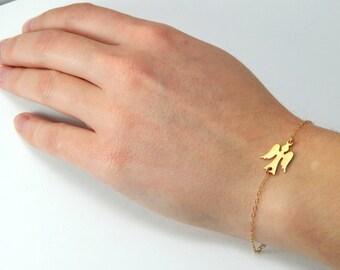 Angel bracelet, guardian angel, small angel charm, gold bracelet, gold angel, protection bracelet, baptism gift, personal guardian angel 278