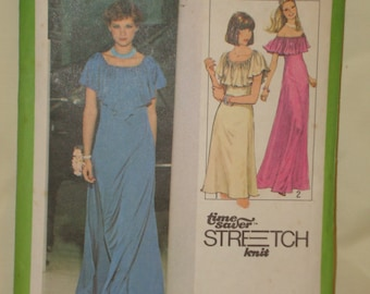 1970s 70s Vintage Evening Cocktail Disco Dress w Elastic Neckline Capelet Collar COMPLETE Simplicity Pattern 8419 Bust 34 Inches 87 Metric