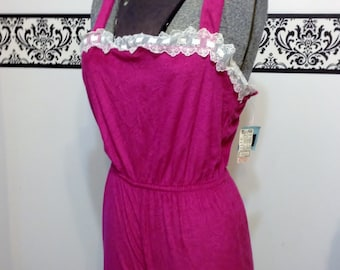 Dead stock Fuchsia Pink 1970's Vintage Terry Cloth Romper small