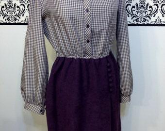 Purple and Grey Gingham Long Sleeve Vintage 1960's Dress by LF Petites (Leslie Faye)