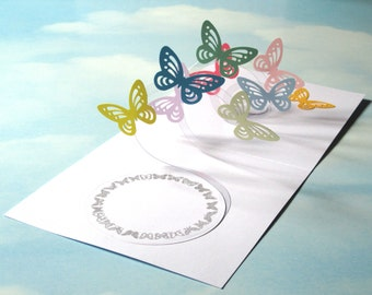 Butterfly Card Spiral Pop Up - Butterfly 3D Card