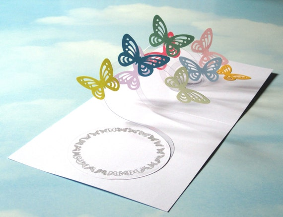 Butterfly Card Spiral Pop Up Butterfly 3D by LittleRoundButton
